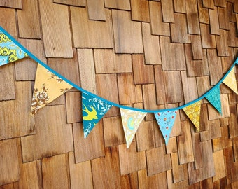 HALF PRICE SALE Teal and Gold Bunting, Fabric Flag Banner,Boho Decoration, As Shown. 9 Large, Double Sided Flags. Neutral, Festive Autumn.