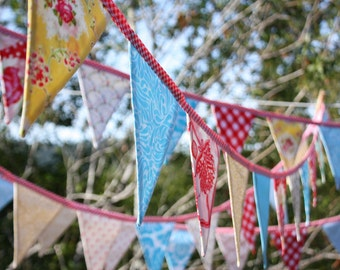 On SALE Carnival Theme Fabric Bunting 250 Yards. Wedding Decor, Photo Prop, Party Decoration, Pennant Flags. You Choose the Length.