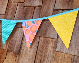 Summer Banner Decorative Colorful Fabric Bunting Prop Decoration in Orange, Yellow and Aqua. As Shown. Oranges and Gender Neutral. 7 Flags.