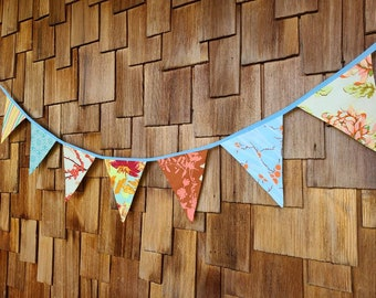 SALE: Summer Banner Decorative Colorful Fabric Bunting Prop Decoration, As Shown. Oranges and Blues. Relatively. Gender Neutral. 7 Flags.