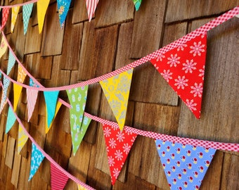 Bright Carnival Theme Fabric Bunting Colorful, Festive Theme, 24 Flags, Wedding Decor, Photo Prop, Party Decor, Pennant Flags. Medium Flags.