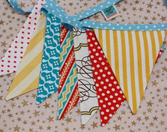 Designer's Choice Carnival Banner, Fabric Pennant Flags, Med. Flags in Red, Yellow, Blue & White Party Decor, Prop.