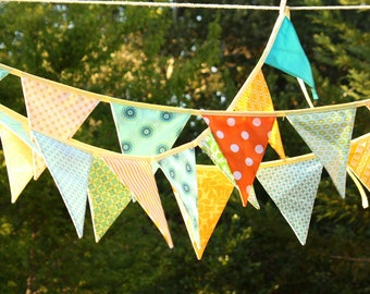 ON SALE 12 Flags, Colorful Fabric Bunting Banner Prop Decoration in Orange, Green, Yellow and Aqua. Designer's Choice our best Selling Item