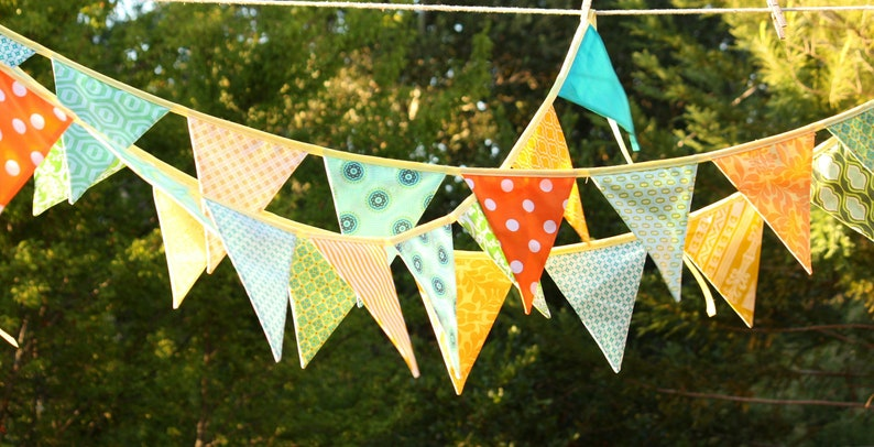 Custom 10' of flags HUGE SALE Colorful Fabric Bunting image 0