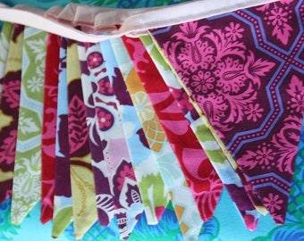 Bunting Banner Featuring 13 Medium Flags in Jewel Tones From Joel Dewberry's Heirloom Collection.  Photo Prop, Decoration.