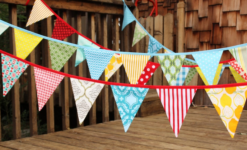CUSTOM 30 Foot Bunting, Wedding Party Flags, Birthday Decoration, Photo  Prop  LARGE Sized Flags in Cotton Fabrics by Popular Designers