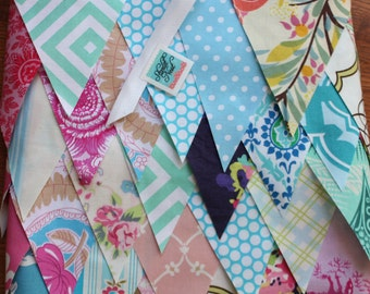 Wedding Bunting, 120 Feet of Fabric Flags. Perfect for Photo Prop, Bridal Decoration, Shower Decor...
