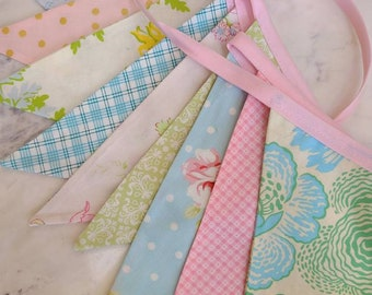 Overstock Sale! As Shown 9 Flags Colorful Fabric Bunting Banner Prop Decoration in Light Colors, Pink, Aqua, Mint.