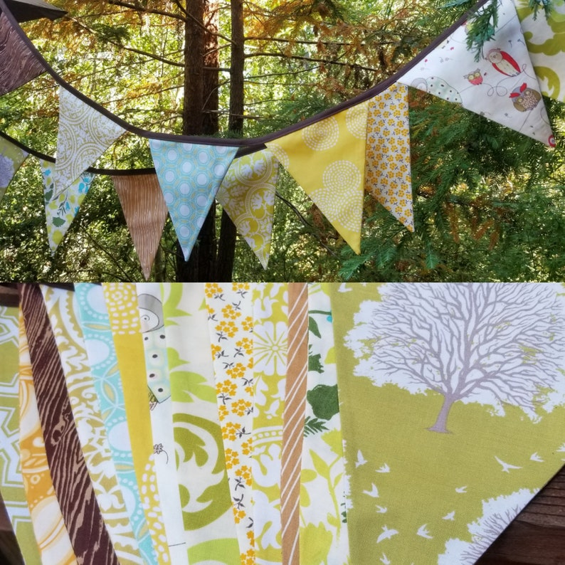 Long Woodland Fabric Bunting Banner 9' Prop Decoration in image 0
