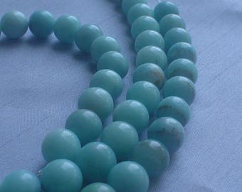 gemstone minty green amazonite smooth round bead 10 mm / 14 inch
