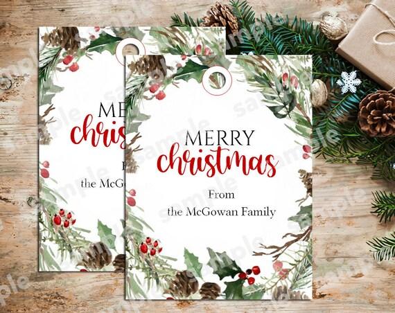 """Christmas Wreath Tags, Christmas Gift Tags, Personalized Christmas Tags, 3.25"""" x 2.5"""" Tag, Holiday Gift Tags C2871"""