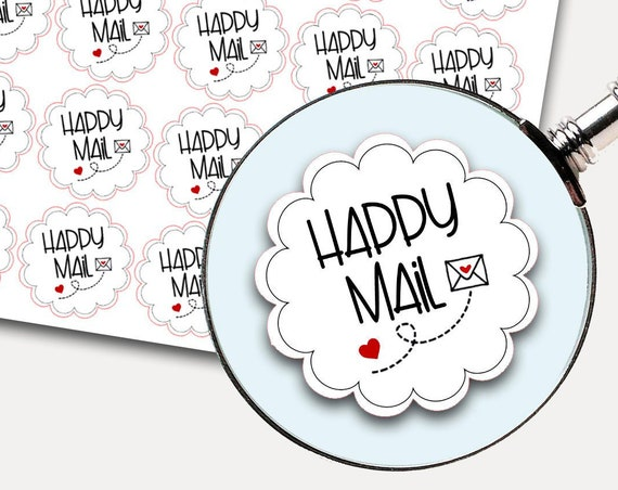 Happy Mail Stickers, Envelope Seals, Etsy, Packaging stickers, Thank you stickers, Thank you labels, Happy Mail Labels, Shipping Supplies