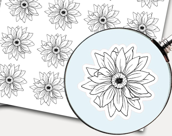 Sunflower Stickers, Envelope Seals, Planner Stickers, Floral Stickers, line drawing, black and white, Botanical Flower (9928)