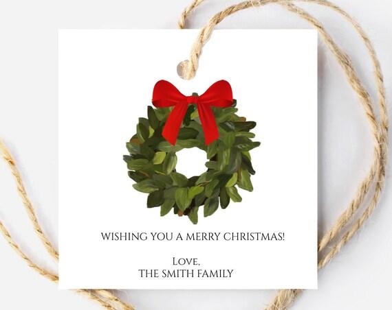 Christmas Wreath Tag, Christmas Mistletoe Tag, Holiday Gift Tag, Personalized Christmas Tags, Christmas Tags, 8220