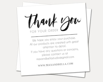 Thank You For Your Order Cards, Personalized Note Cards, Small Business, Etsy Seller, Thank You Insert, Package Insert - Set of 50