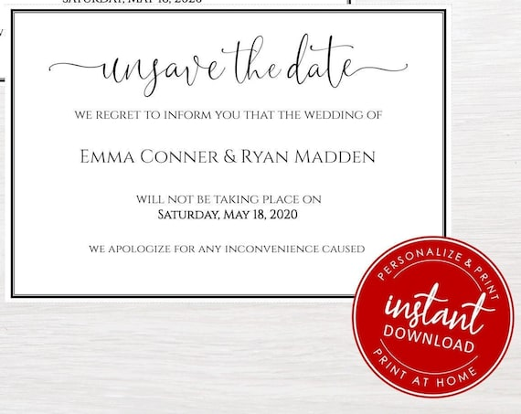 Unsave the Date | Wedding Cancellation | Postponed | DIY | Editable | Printable | Instant download