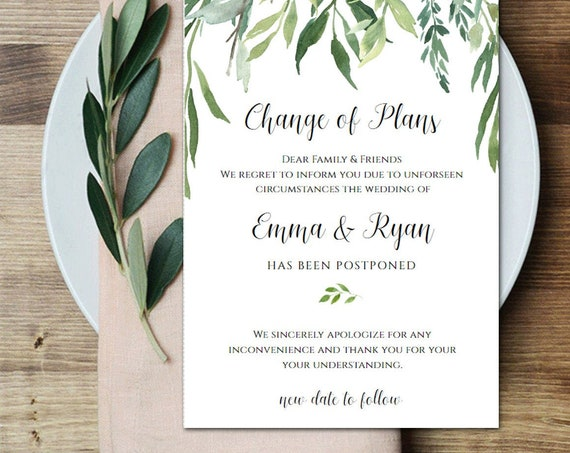Change of Plans Announcement  | Cancellation | Editable Corjl Template  | Rescheduled  | Wedding Shower CJ2877