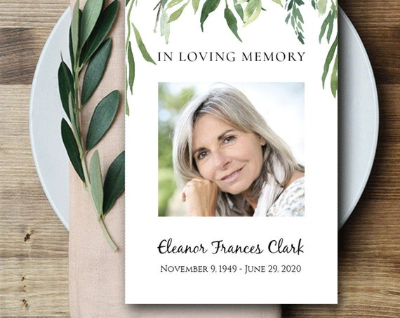 In Loving Memory Prayer Card  | Celebration of Life  | Editable Corjl Template  | Funeral Card  | Remembrance 4796