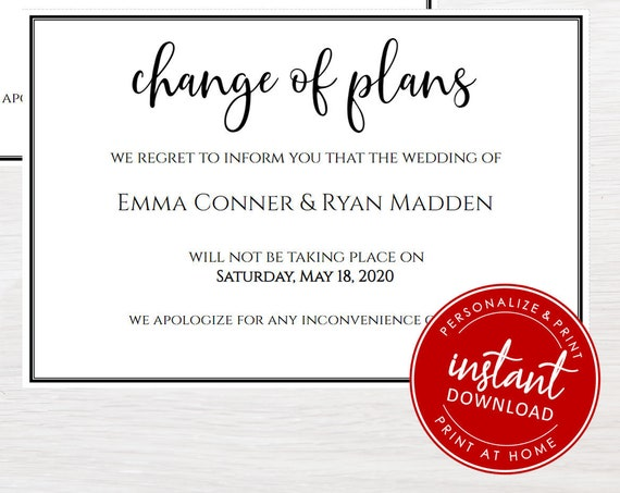 Change of Plans | Wedding Cancellation | Postponed | DIY | Editable | Printable | Instant download