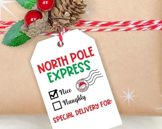 DIY PRINTABLE Tags  |  North Pole Express  |  Printable Christmas Gift Tags | Holiday Gift Tags | Gift Tags