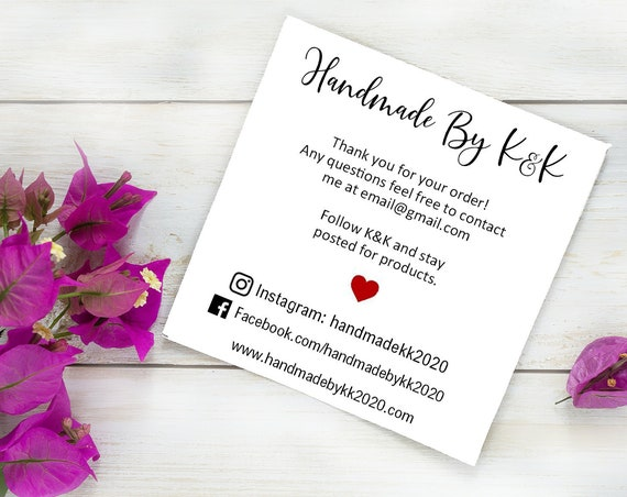 Custom Business Cards | Handmade with Love | Social Media Cards | Printed Business Cards | Kraft | Set of 30 | 2977