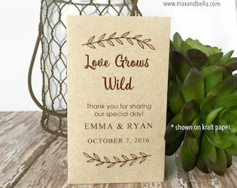 DIY Custom Seed Packets, Custom, Kraft, Personalized Envelopes, Wedding Favors, Bridal Shower, Seed Packet, Let Love Grow, Love Grows Wild