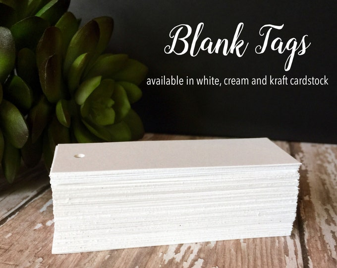 "100 DIY Blank Tags, Blank Favor Tags, Hang tags, Wedding Tags, Product Tags, 3"" x 1 1/16"""