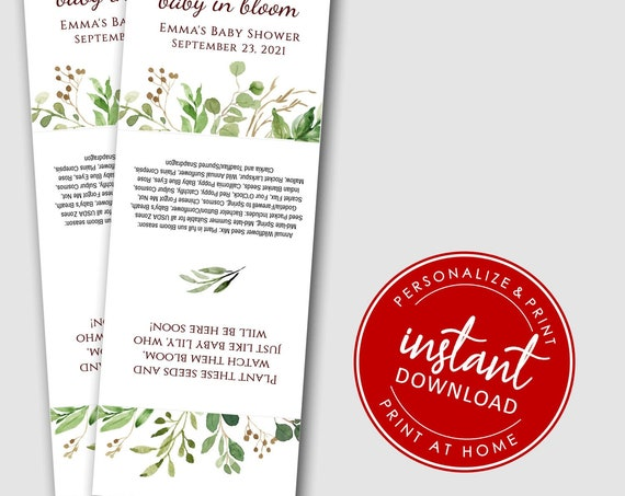 EDITABLE | DIY Baby in Bloom Printable Cards | Baby Shower | Wildflower Seeds | Plantable Seed Hearts 3885