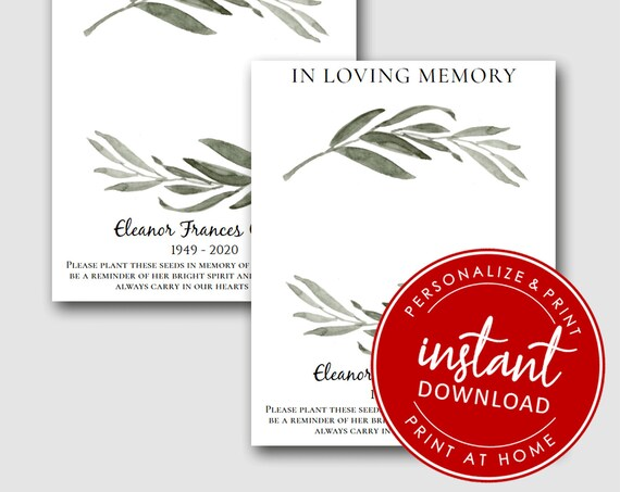EDITABLE | In Loving Memory Printable Cards | Personalized Forget Me Not  | Memorial Cards  | Plantable Seed Hearts 4492