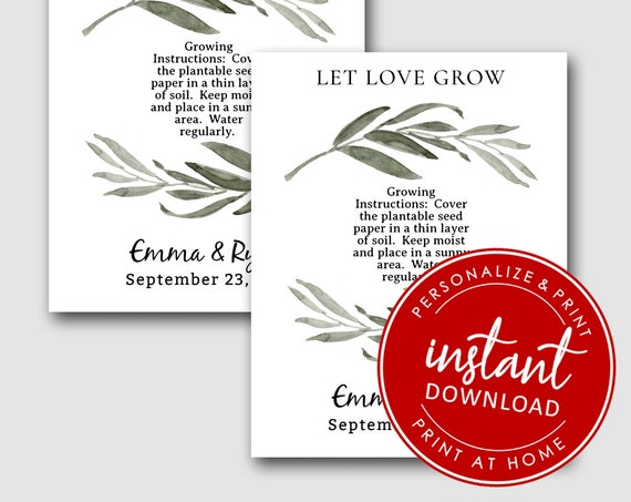 EDITABLE | Let Love Grow Printable Cards | Wedding Favors  | Personalized Wedding Favor | Plantable Seed Hearts 8266