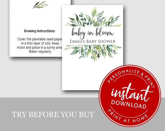 EDITABLE | DIY Printable Baby Shower | Let Love Grow | Seed Favors  | Plantable Seed Hearts CJ2870