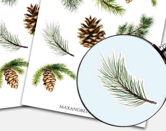 Evergreen Pine Stickers, Envelope Seals, Planner Stickers, Christmas Stickers, Watercolor, Pinecone, Christmas Tree 2089