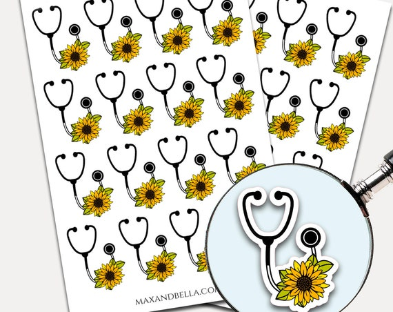 Sunflower Stethoscope Stickers, Envelope Seals, Planner Stickers, Nurse, Yellow Sunflower, Nursing Stickers, Laptop Stickers (6345)