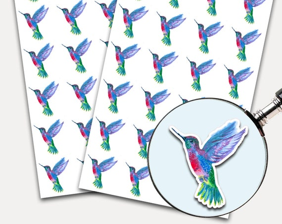 Humming Bird Stickers, Envelope Stickers, Planner Stickers, Watercolor, Birds (3453)