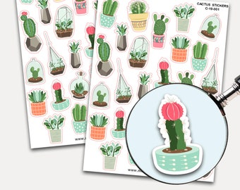 Cactus Stickers, Envelope Seals, Cacti Sticker Flakes, Potted Plants, Succulents, Watercolor, Leaves, Plant, Water Schedule, Planner Sticker