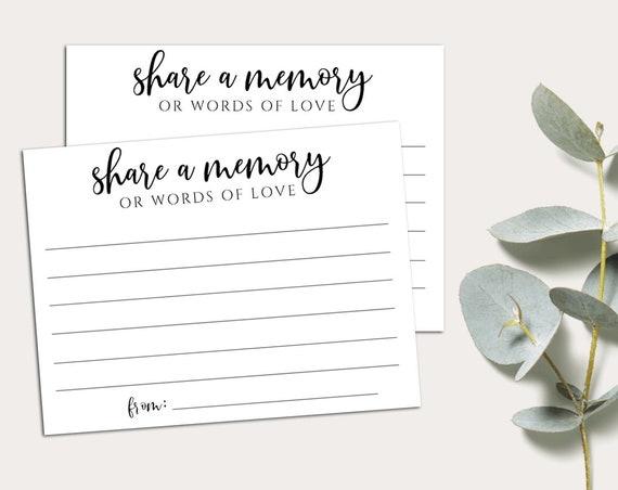 PRINTABLE Memorial Card, Funeral, Memory Card, Share A Memory, In Loving Memory Card, Retirement, Instant Download