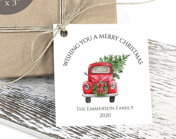 Merry Christmas Tag, Christmas Truck Tag, Holiday Gift Tag, Personalized Christmas Tags, Rustic, C2098