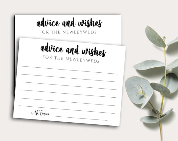 PRINTABLE Wedding Advice Cards, Wishes for Newlyweds, Advice for Bride and Groom, Instant Download