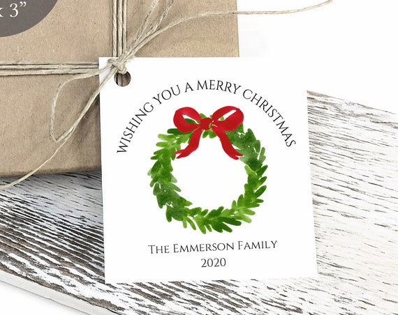 Merry Christmas Tag, Christmas Wreath Tag, Holiday Gift Tag, Personalized Christmas Tags, Rustic, C3569
