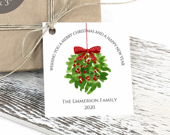 Merry Christmas Tag, Christmas Mistletoe Tag, Holiday Gift Tag, Personalized Christmas Tags, Rustic, C3467