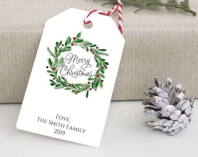 Merry Christmas Wreath Tag, Plaid Reindeer Christmas. Holiday Gift Tag, Holiday Tags, Personalized Christmas  Gift Tags 4469