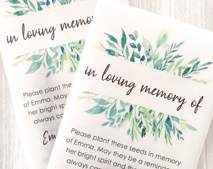 DIY Memorial Favors, Personalized Seed Packets, Celebration of Life Memento, Loved Ones Remembrance, In Loving Memory Of 9928