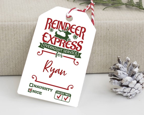 Reindeer Express Tag, North Pole Tags, Holiday Gift Tag, Naughty or Nice Tags, Personalized Christmas Tags, From Santa Claus, 0744