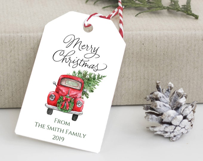 Merry Christmas Tag, Christmas Truck Tag, Holiday Gift Tag, Holiday Tags, Personalized Christmas Tags, Holiday Gift Tag 3398
