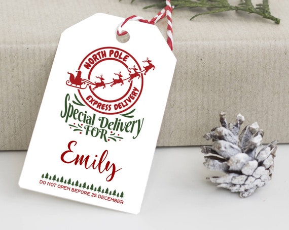 North Pole Express Delivery Tag, North Pole Tags, Holiday Gift Tag, Personalized Christmas Tags, From Santa Claus, 7229