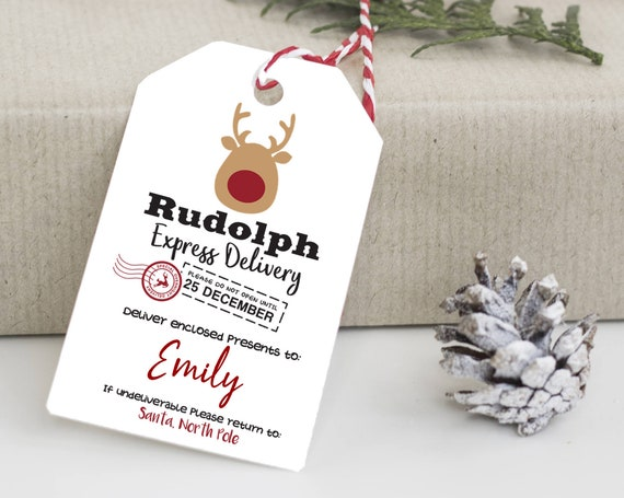 Rudolph Express Delivery Tag, North Pole Tags, Holiday Gift Tag, Naughty or Nice Tags, Personalized Christmas Tags, From Santa Claus, 8202
