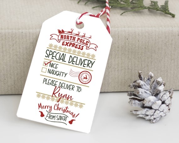 North Pole Express Tag, North Pole Tags, Holiday Gift Tag, Naughty or Nice Tags, Personalized Christmas Tags, From Santa Claus, 0092