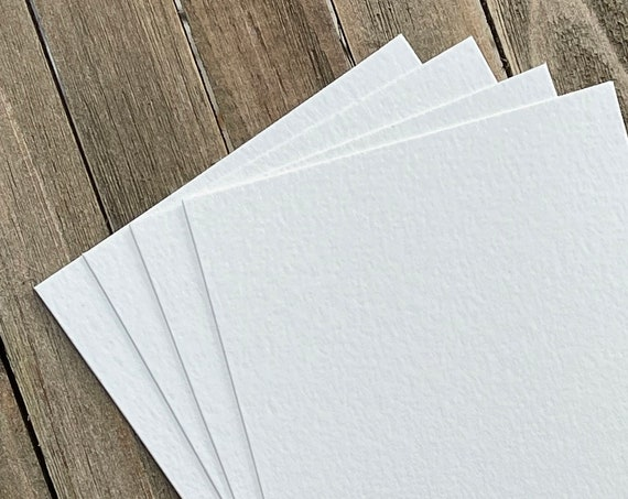 16 Blank A2 Cards Textured Art Supplies  140lb  Painting Artist Tiles Drawing Craft Supplies Watercolor Off White