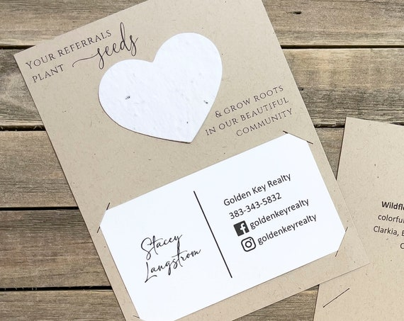 Fully Assembled Plantable Real Estate Cards, House Listing, Referral, Business Card, Open House, Plantable Seed Hearts, Seed Packet - 2999