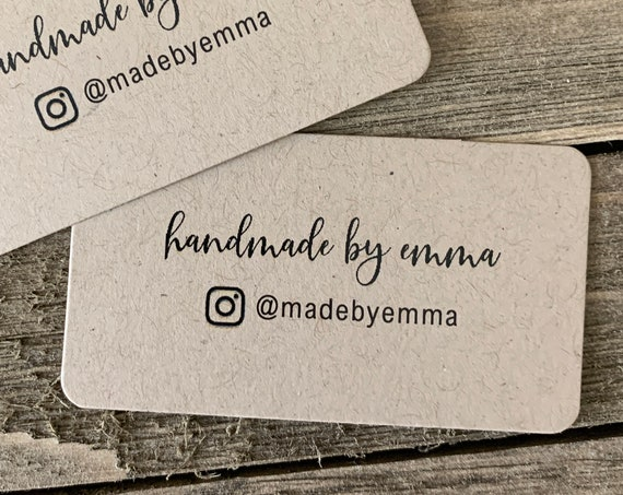 Mini Business Cards | Handmade with Love |  Rounded Corners | Printed Business Cards | Kraft | 6730
